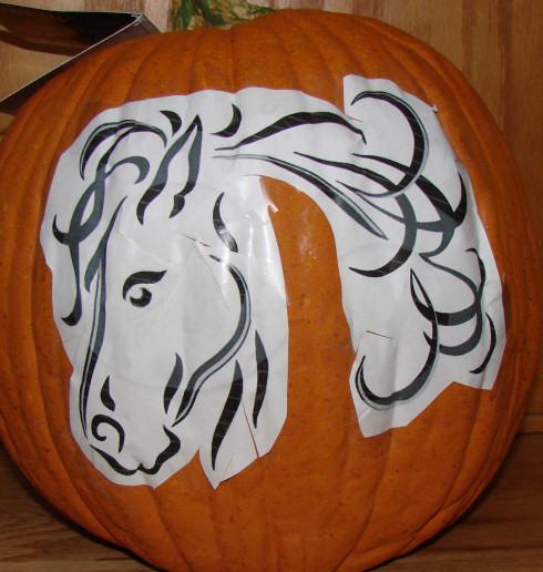Horse orange foam pumpkin carving gallery pattern